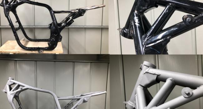 Décapage sablage aerogommage, microbillage cadre moto, Perpignan, Aerotech66, Pyrénées-Orientales 66