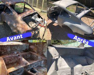 Décapage par aérogommage de carrosserie de véhicules anciens, Porsche 911, Perpignan, Aérotech66