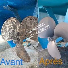 Décapage par aérogommage hélice bateau grand Banks, Aérotech66, Perpignan, 66 Pyrénées-Orientales
