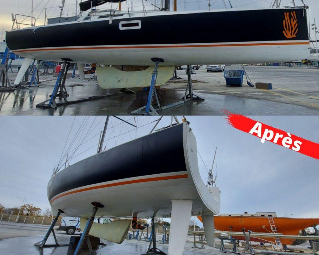 Après décapage par aérogommage antifouling bateaux sur Pogo 10.50, 66, Pyrénées-Orientales, Aude, Aérotech66