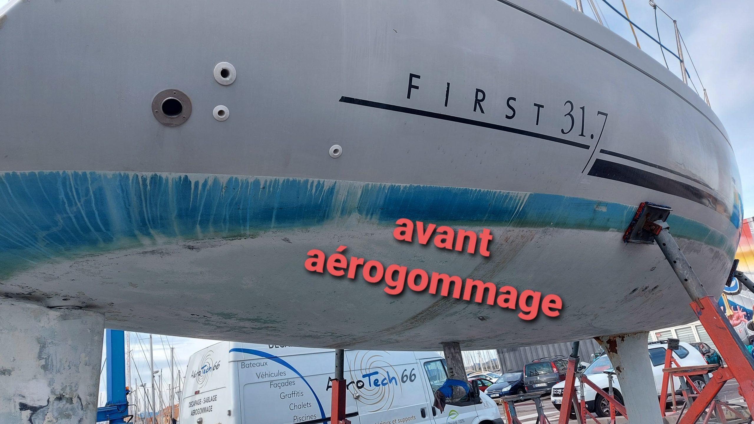 décapage antifouling bateau par aérogommage, Aude, Aérotech66